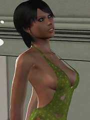 Girl in sexy green dress fucking with tentacles