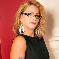 Super sexy blonde tranny gets black cock