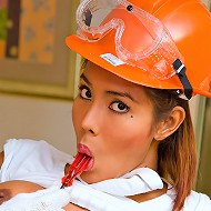 Clad like a builder shemale teasing with her thong