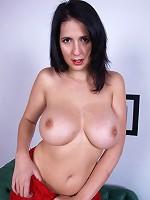 Horny sexy hottie in stockings showing off her jummy gigantic naturals