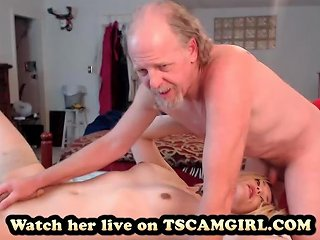 Oldman Tries The Sex With Teen Shemale