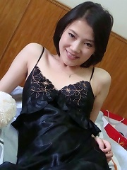 Sweet and shy Chinese Asian babe teasing in sexy lingerie