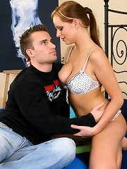 Babe with big tits banged by guy