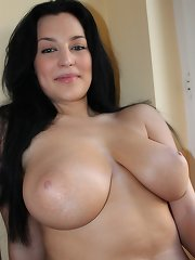 Wonderful gorgeous amateur squeezes her natural big knockers