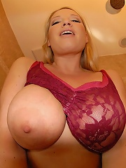 beautiful hot slamming big tits blonde gets creamed all over her huge tits after a wet shower hot pics