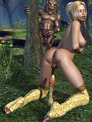3D Elven Priestess watches sex tape and screwed to orgasm