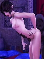 Tanned Neko-girl massaging virgin Devil and screwed