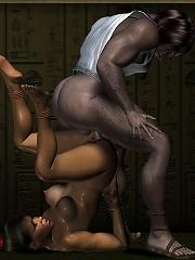 Anime Lesbian taking her panties off