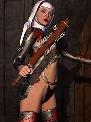 Fantastic 3D Evil Priestess with slim body