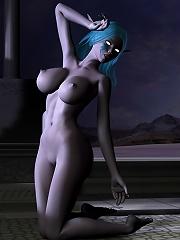Virgin Nymph getting penetrated by Alien Monster