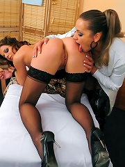 Dominatrix Mistress Torments Hot Babe with Wax, Spanking and Paddles, then Fucks Her with a Strap On