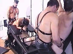 Two masters abuse three poor gay slaves