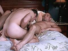 Hunk bear Jeff Baron sucking away on big dicks and fucking tight assholes of his gay friends