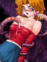 Drawn girls enjoy big tentacles