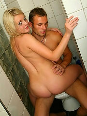 Sexy teen girl gets pussy pounded in the bathroom