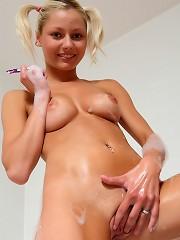 18yo beauty Pinky June gets naughty in the hot bath