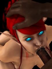 Neko-girl rides on 3D Goblin untill filled