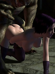 Virgin Dick girl blowjobs Dark Lord then gets boned hard