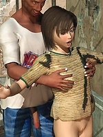 Shocking 3D interracial street threesome