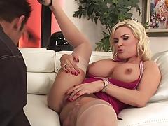 Blonde big tits milf in stockings fucks a guy (Top milf)
