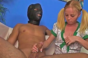 Cfnm Petite Teen Tugging With Both Hands