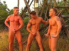 Lining up for an outdoor stud fucking