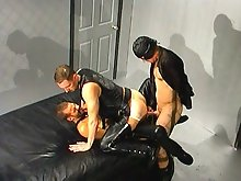 He has to open his ass wide to let these two guys give him gay double penetration
