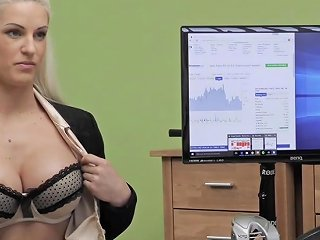 Blonde Babe With Big Tits Really Needs A Loan