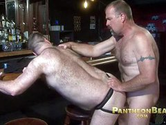 Two big hairy bears fuck doggy style