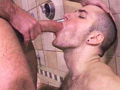 Hairy studs Josh West and RJ Danvers fuck in a shower