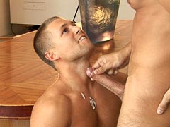 Young hunk takes a big load on his muscle chest afer a deep anal penetration