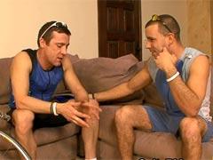 Hot movie of hairy jocks having fun in a living-room