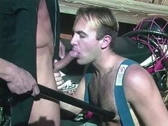 With the help of his night stick, this cop's meat stick gets licked to his delight