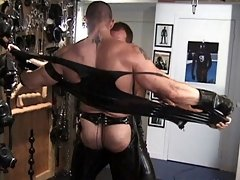 Clad in latex outfits, these old dudes peel them off to lick each other's shafts