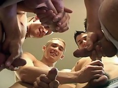 Five hot buddies jerking their nice cocks off at once