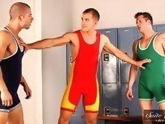 Gay pornstars Parker London, Brandon Lewis and Rod Daily in hot gay jocks sex scene in locker room