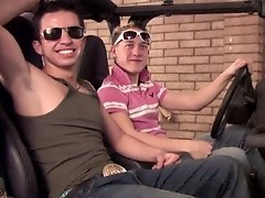 2 cute lads fucking in the garage on a car