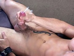 Muscular white stud stroking his nice cock for you