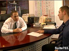 An employee Spencer Whitman gets fucked by a horny boss  Drew Cutler on this awesome movie