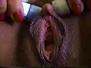 Chick Vibrates Her Enormous Clit