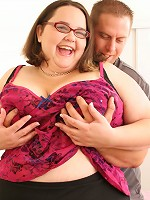 Bookworm BBW pinching her nipples while getting fucked