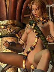 Monster tentacles having blonde punished on a chair