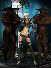 Beautiful 3D Whore runs her tongue on Hentai Aliens dick