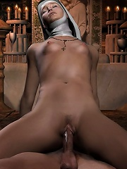 Sexy 3D Vigrin pleasures Head-hunter and gets off