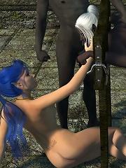 Horny Tramp fondles 3D Orcs cock