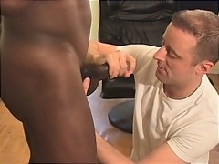 Chad Thompson takes big black cock deep in his mouth, sucks back a hot thick creamy load, and then washes it down with streaming piss