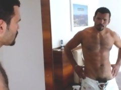 This bearded Latin Stallion, is such a stud! He can't wait to stop his chores of washing the mirror in the bedroom to pleasure himself for us. Ma