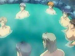 Hentai boys in a warm pool preparing an massive gay orgie