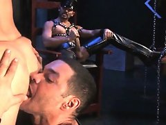 Marcos David and Enrique Currero are already on their knees with Antonio Biaggis massive cock dangling above them. Antonio stands at full attention on