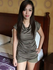 Pretty doe-eyed Filipina girl joins male tourist for early hotel sex romp